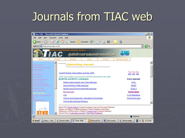 Journals from TIAC web