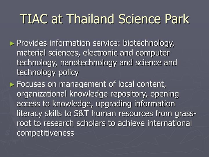 Tiac at thailand science park