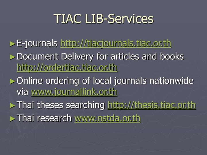 TIAC LIB-Services