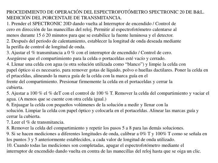 PROCEDIMIENTO DE OPERACIÓN