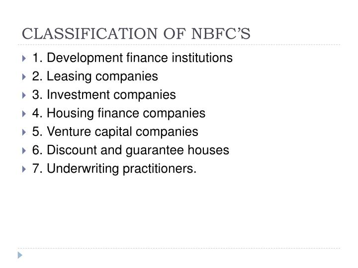 CLASSIFICATION OF NBFC'S