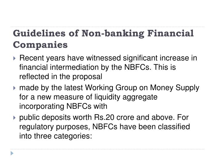 Guidelines of Non-banking Financial Companies