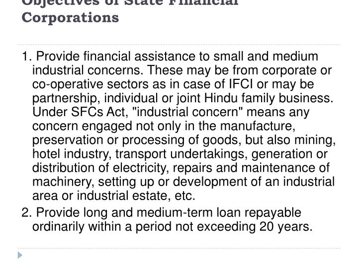 Objectives of State Financial Corporations