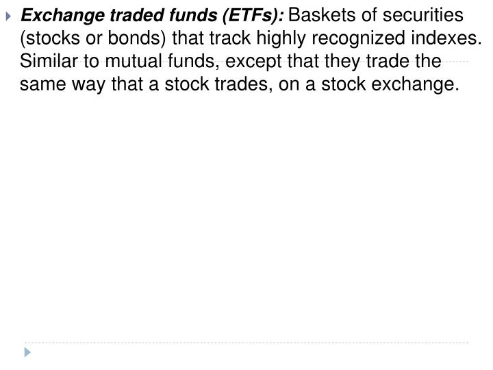 Exchange traded funds (ETFs):