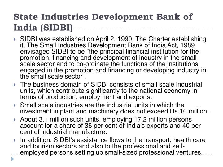 State Industries Development Bank of India (SIDBI)