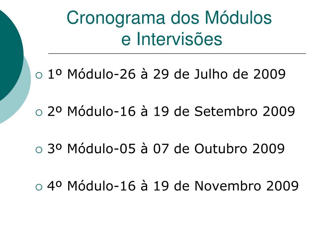 Cronograma dos Módulos