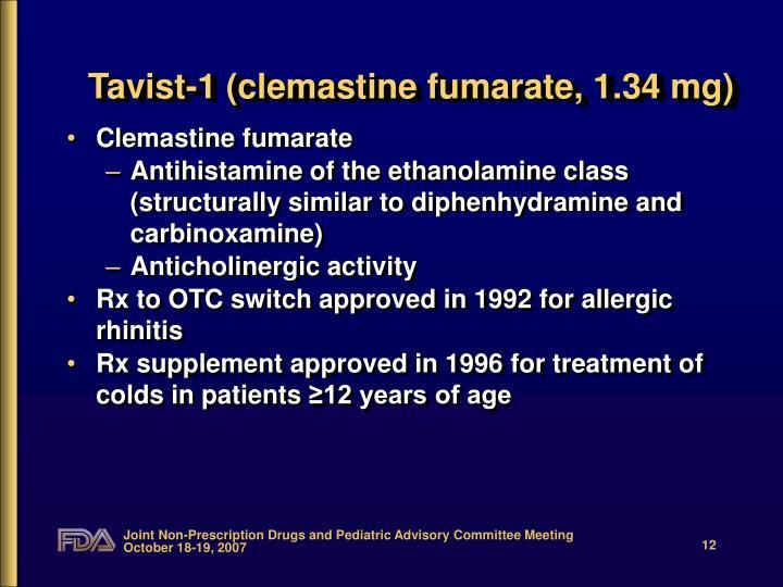 Tavist-1 (clemastine fumarate, 1.34 mg)