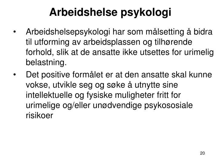 Arbeidshelse psykologi