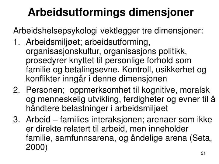 Arbeidsutformings dimensjoner