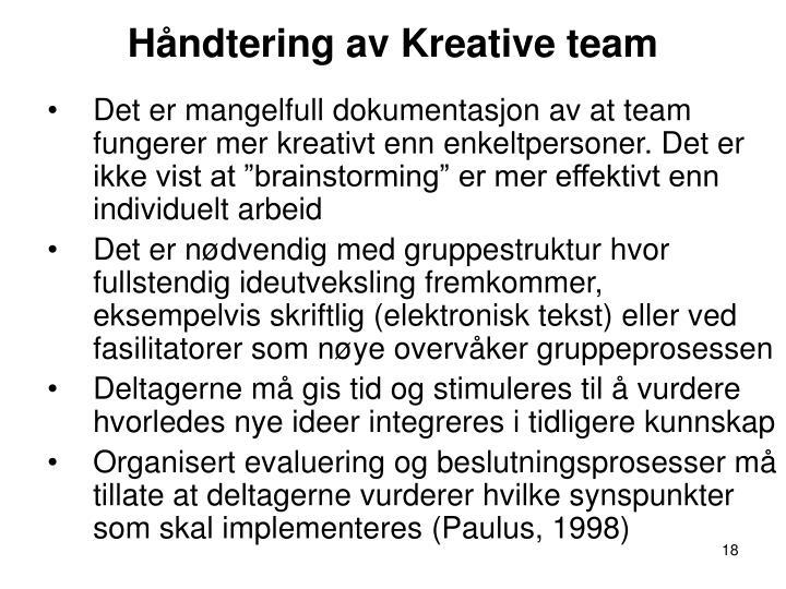 Håndtering av Kreative team