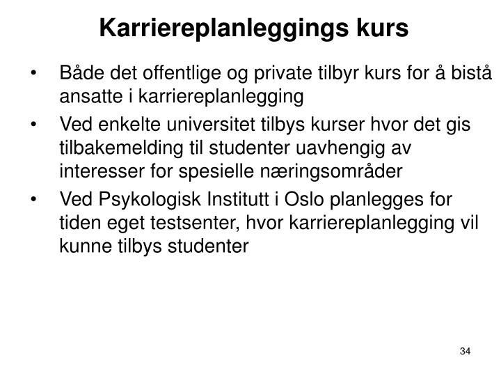 Karriereplanleggings kurs