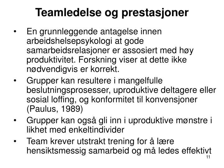 Teamledelse og prestasjoner