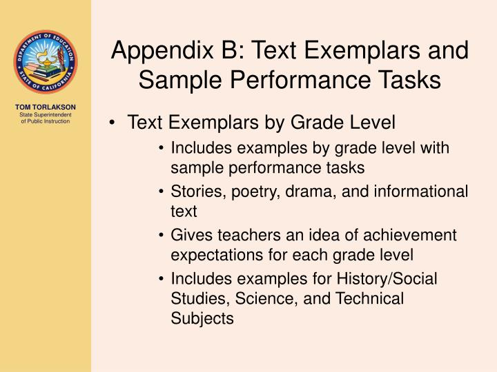 Appendix B: Text Exemplars and