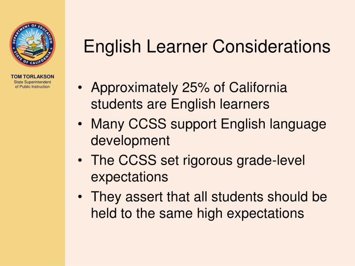 English Learner Considerations