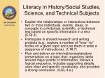 literacy in history social studies science and technical subjects