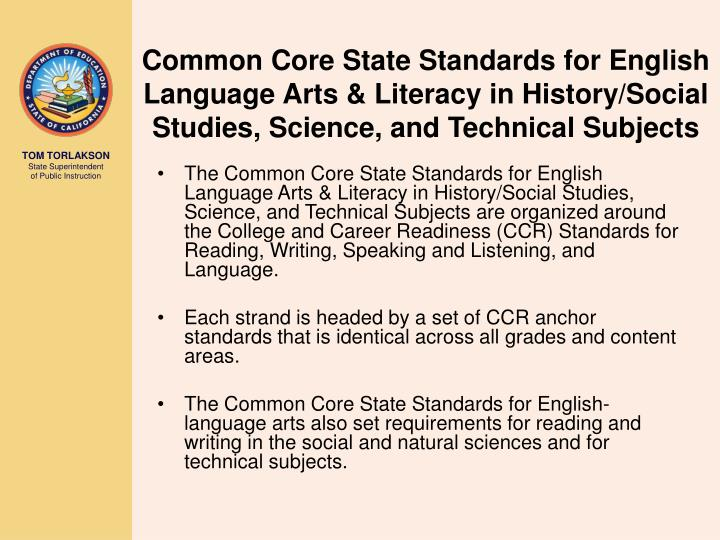 Common Core State Standards for English Language Arts & Literacy in History/Social Studies, Science,...