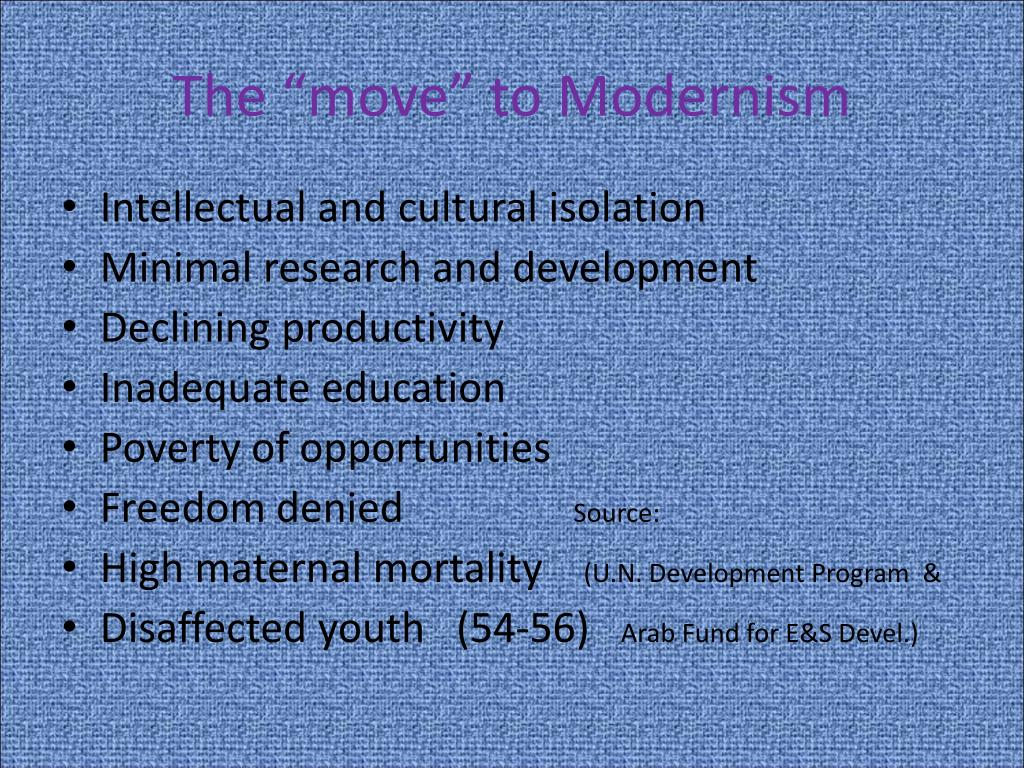 "The ""move"" to Modernism"