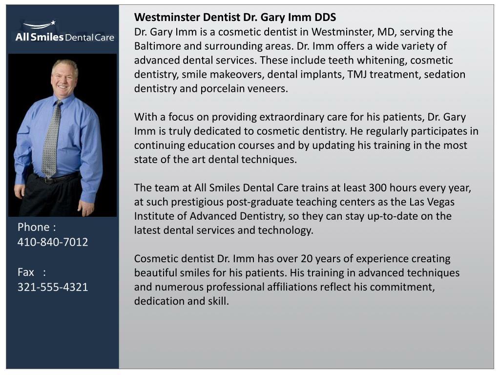 Westminster Dentist Dr. Gary Imm DDS