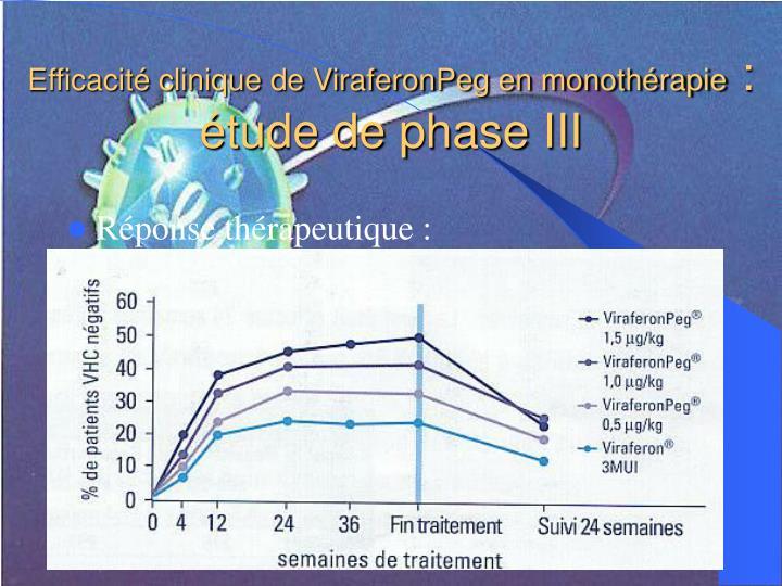 Efficacité clinique de ViraferonPeg en monothérapie