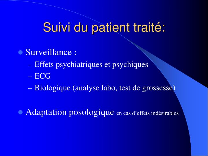 Suivi du patient traité: