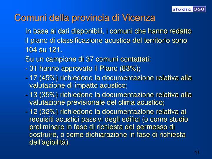 Comuni della provincia di Vicenza