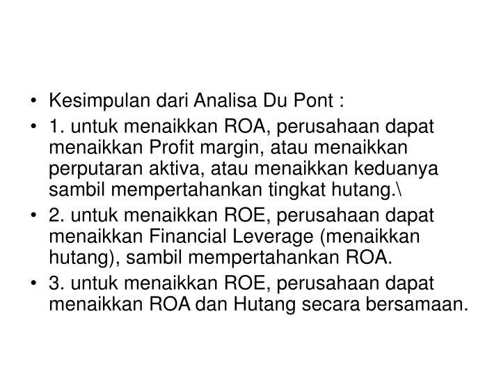 Kesimpulan dari Analisa Du Pont :