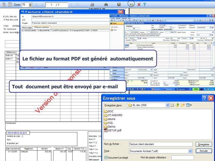 Le fichier au format PDF est généré  automatiquement