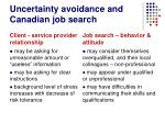 uncertainty avoidance and canadian job search