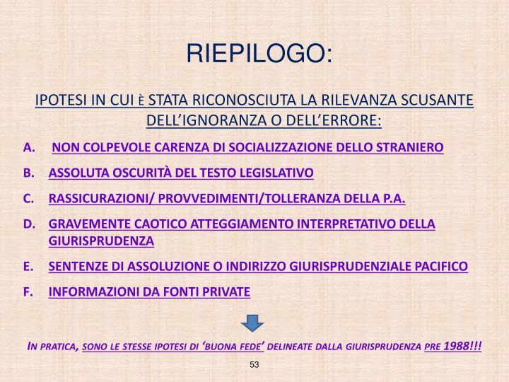 RIEPILOGO: