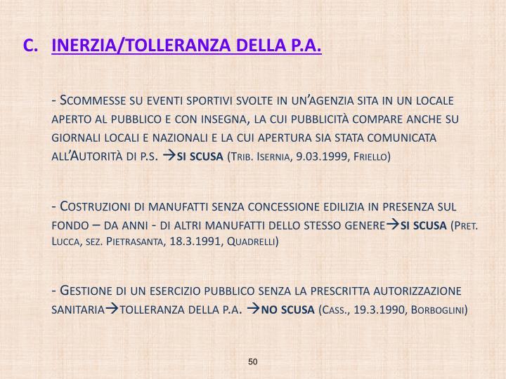 INERZIA/TOLLERANZA DELLA P.A.