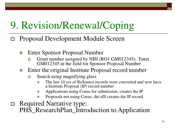 9. Revision/Renewal/Coping