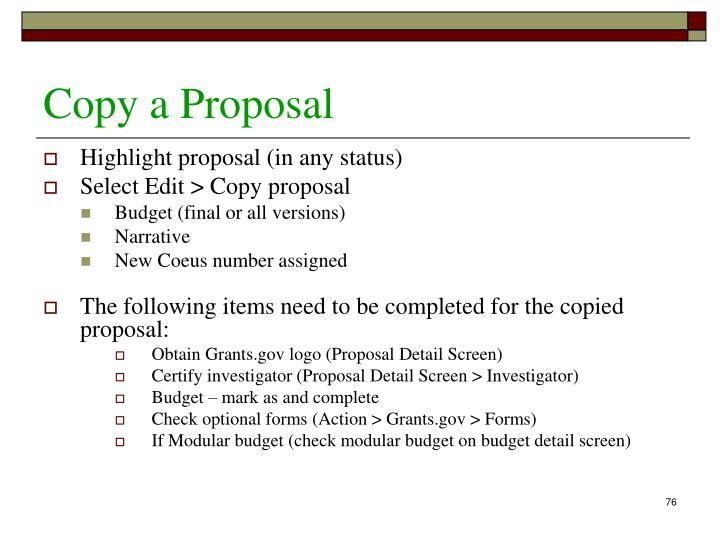 Copy a Proposal