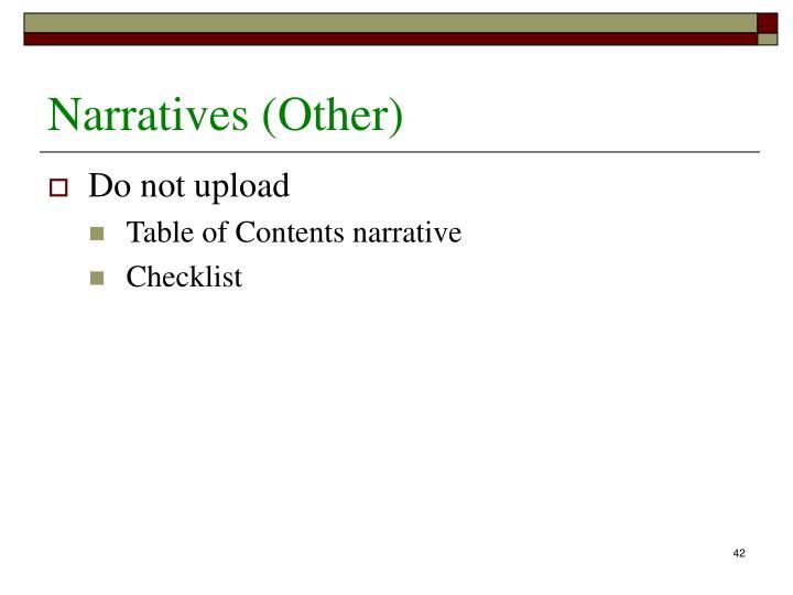 Narratives (Other)