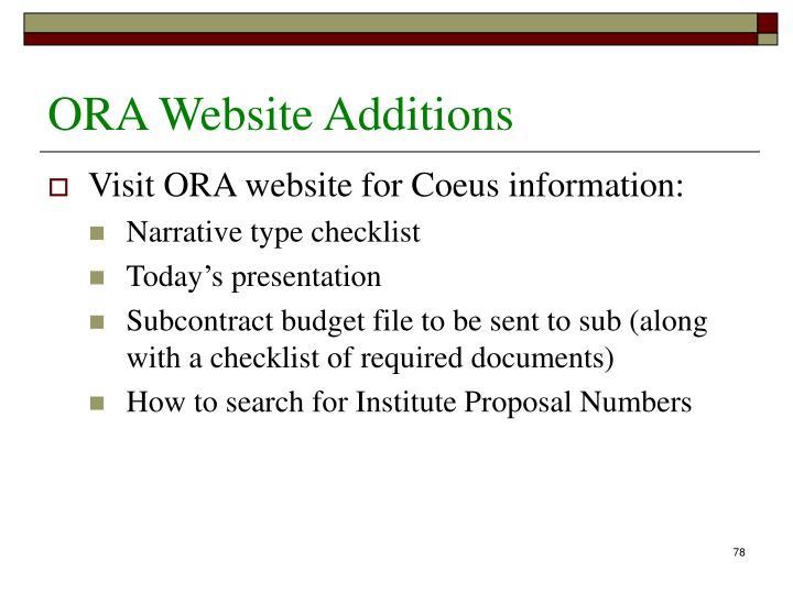 ORA Website Additions