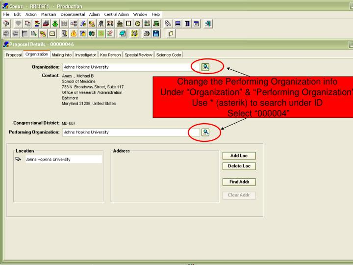 Change the Performing Organization info