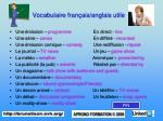 vocabulaire fran ais anglais utile
