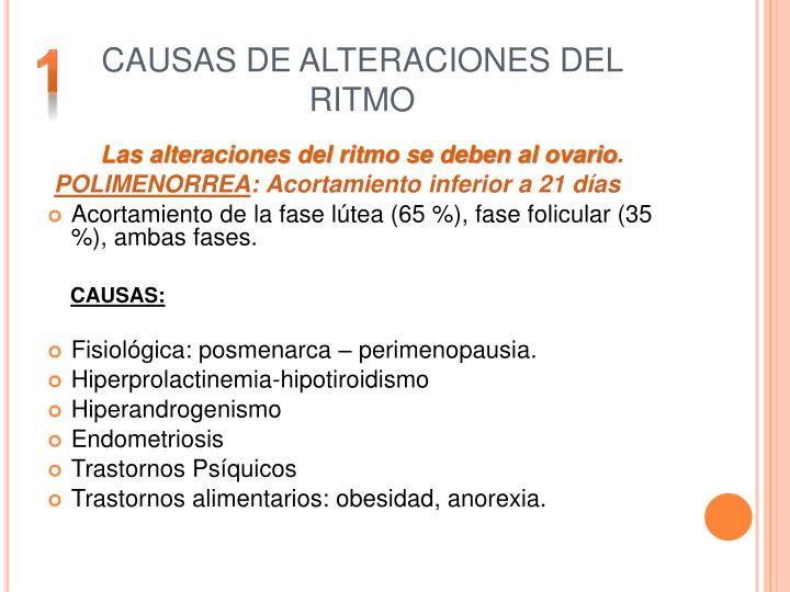 CAUSAS DE ALTERACIONES DEL RITMO