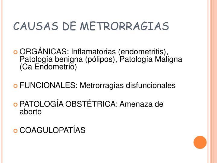 CAUSAS DE METRORRAGIAS