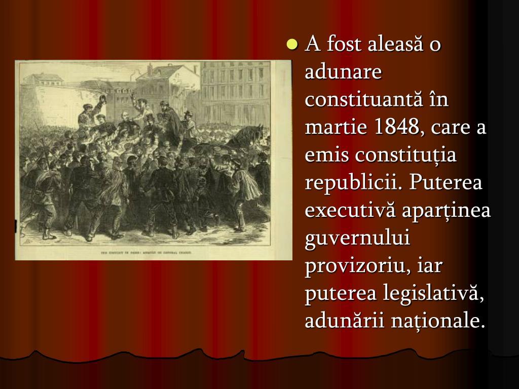A fost aleasă o adunare constituantă în martie 1848, care a emis constituţia republicii. Puterea executivă aparţinea guvernului provizoriu, iar puterea legislativă, adunării naţionale.