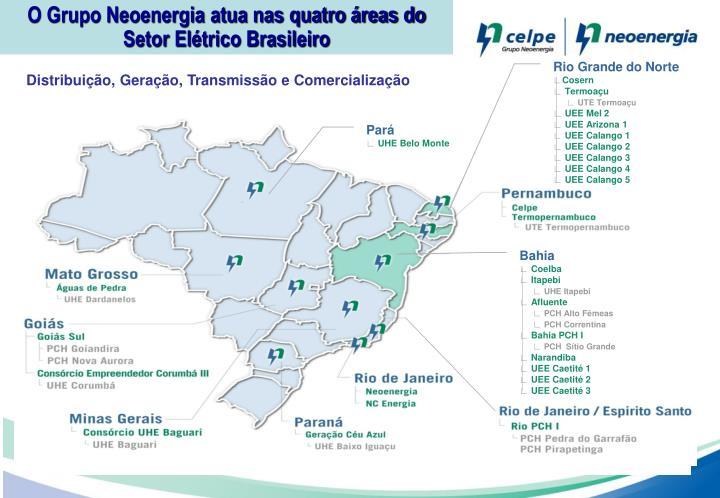 O Grupo Neoenergia atua nas quatro áreas do Setor Elétrico Brasileiro