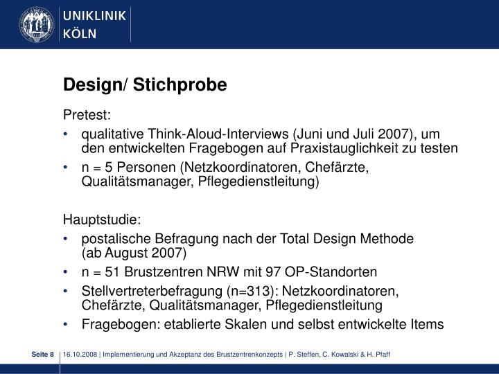 Design/ Stichprobe