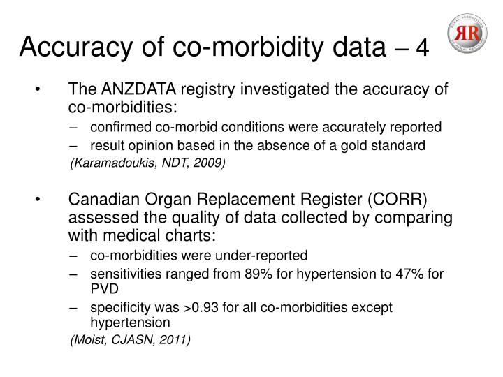 Accuracy of co-morbidity data