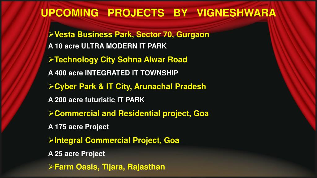 UPCOMING   PROJECTS   BY   VIGNESHWARA