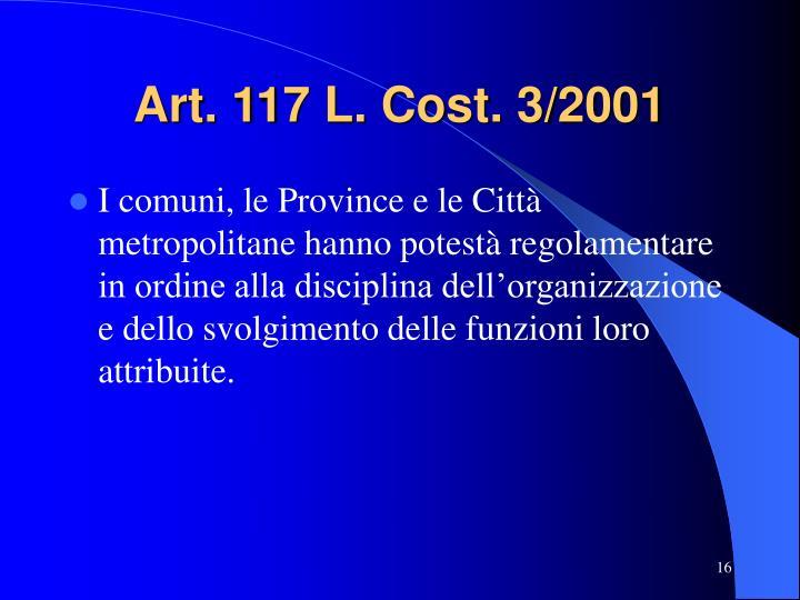 Art. 117 L. Cost. 3/2001
