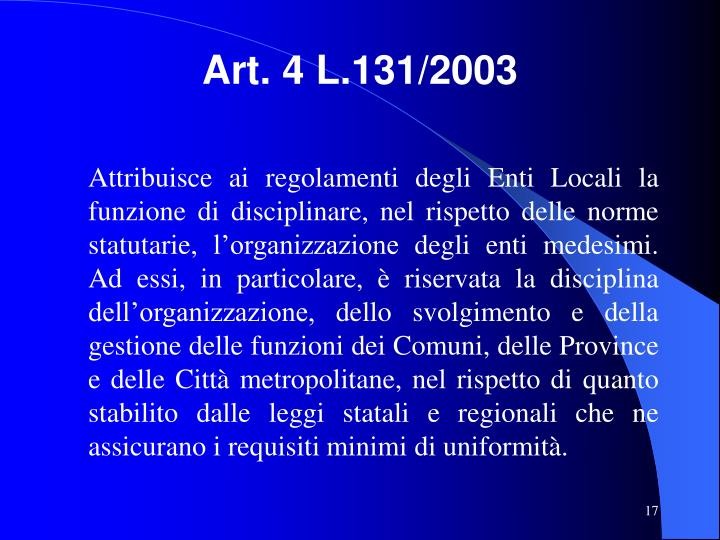 Art. 4 L.131/2003