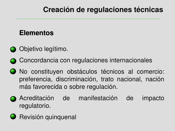 Creación de regulaciones técnicas