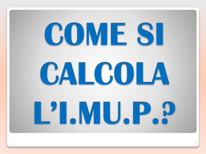 COME SI CALCOLA L'