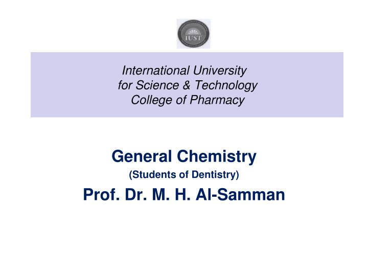 International university for science technology college of pharmacy
