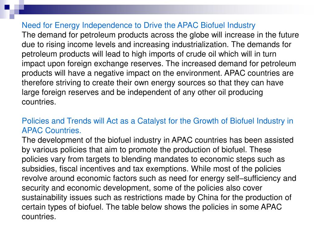 Need for Energy Independence to Drive the APAC Biofuel Industry