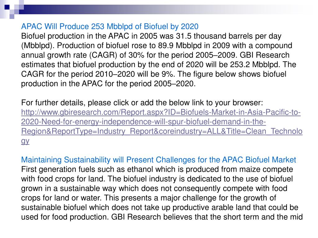 APAC Will Produce 253 Mbblpd of Biofuel by 2020